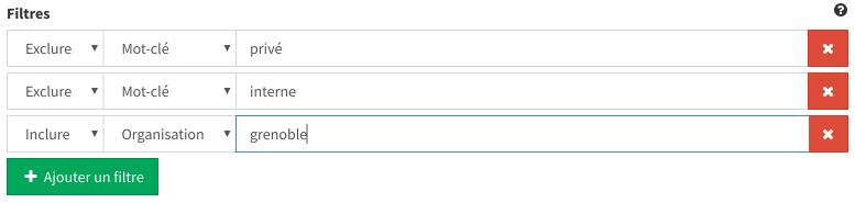 Exemple de combinaison de filtres